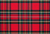 Close up of red, checkered textile background, texture with copy space