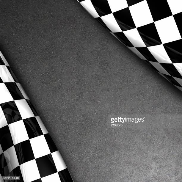 Checkered flag and asphalt