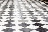Checkered tiled floor