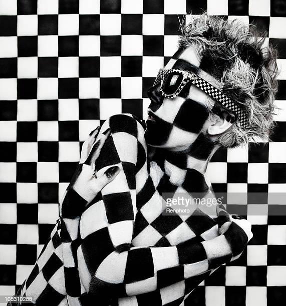 Damiers femme: Photo de peinture d'Art corps