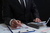 Businessman, Reading, Finance, Wages, Calculating