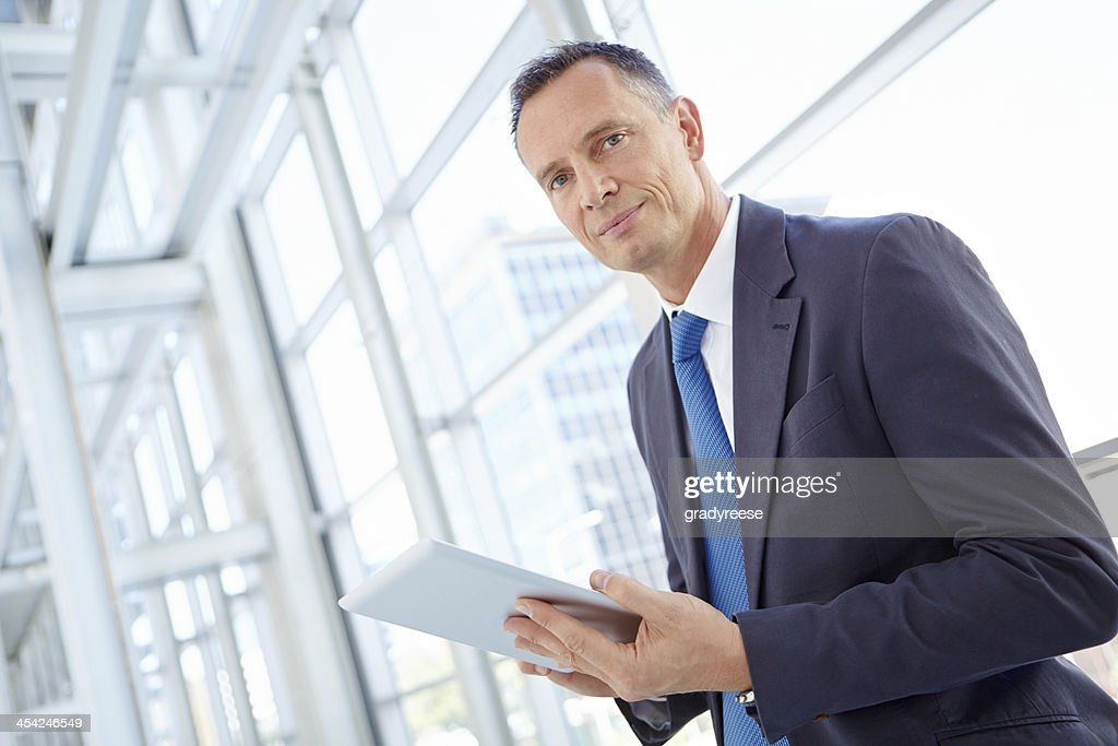 Checking his inbox : Stock Photo