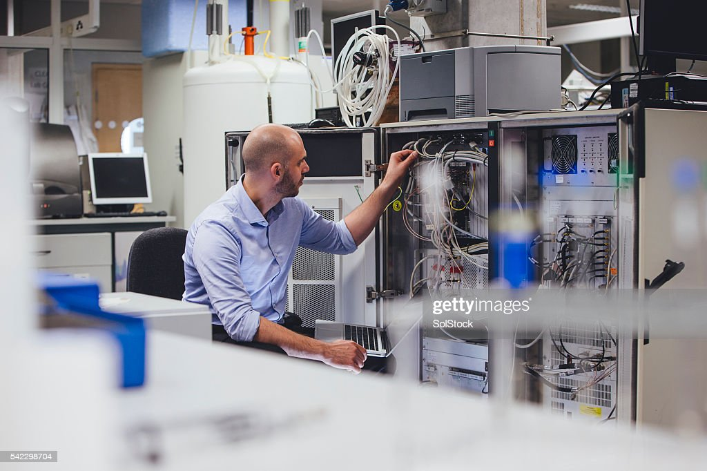 Checking the Network Servers : Stock Photo