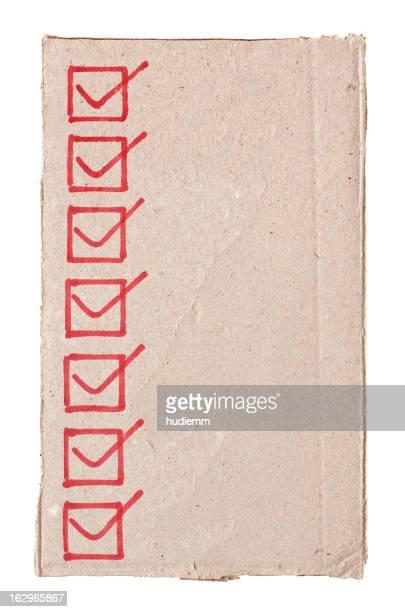 Lista de verificação do cartão