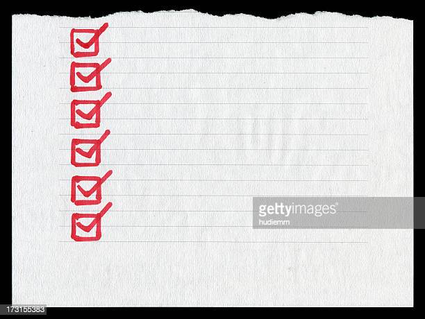 Checklist in the lined paper textured background