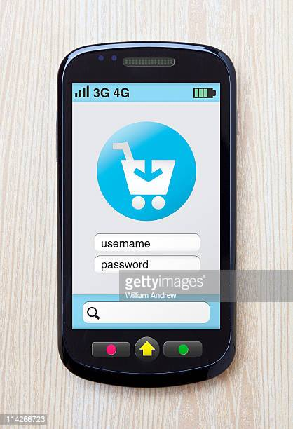 Check-out cart on mobile phone