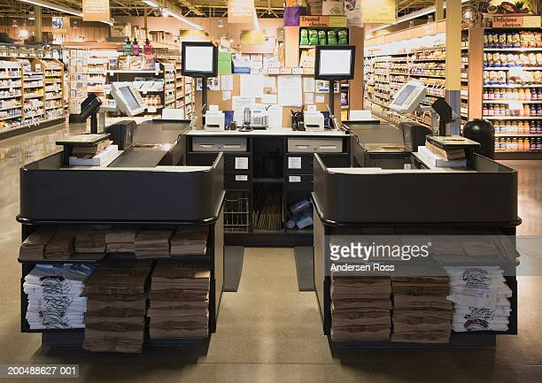 Checkout counters in grocery store