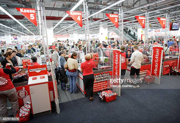 Checkouts in the world largest Media Markt in the Alexa shopping mall at the Alexanderplatz on September 12 in Berlin Germany Media Markt is Europe's...