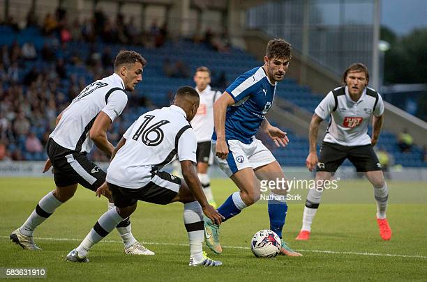 Ched Evans of Chesterfield in action during the PreSeason Friendly between Chesterfield and Derby County at Proact Stadium on July 26 2016 in...