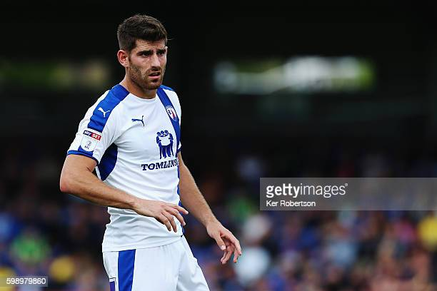 Ched Evans of Chesterfield in action during the Sky Bet League One match between AFC Wimbledon and Chesterfield at The Cherry Red Records Stadium on...