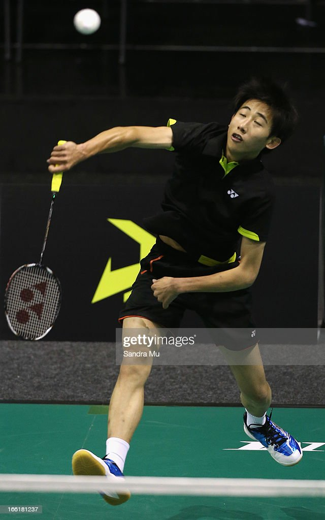 Chee Foong Lim of New Zealand in action during qualifying for the New Zealand Badminton Open at North Shore Events Centre on April 10, 2013 in Auckland, New Zealand.