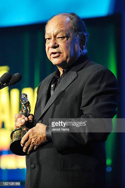 Cheech Marin accepts outstanding career achievment award for writing onstage at the 2012 NCLR ALMA Awards PreShow at Pasadena Civic Auditorium on...