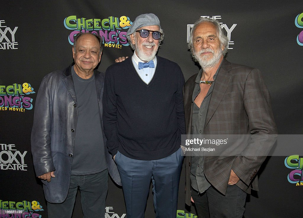 Cheech Marin, Lou Adler and Tommy Chong attend 'Cheech And Chong's Animated Movie!' VIP Green Carpet Premiere at The Roxy Theatre on April 17, 2013 in West Hollywood, California.