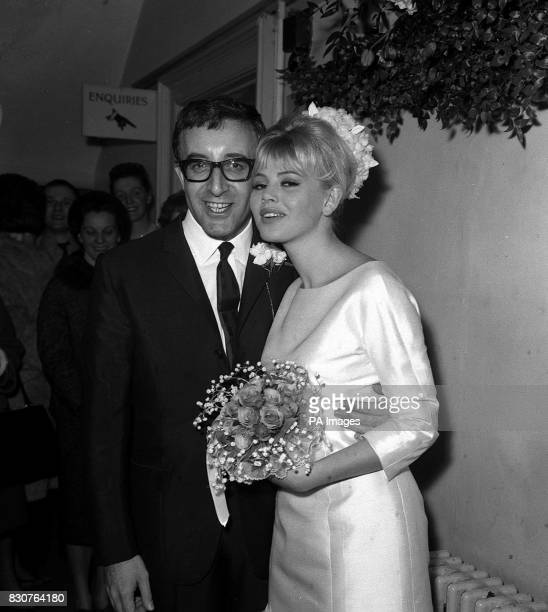 Cheek to cheek after their candlelit wedding at Guildford Surrey registery office are 38yearold British actor Peter Sellers and his second bride...