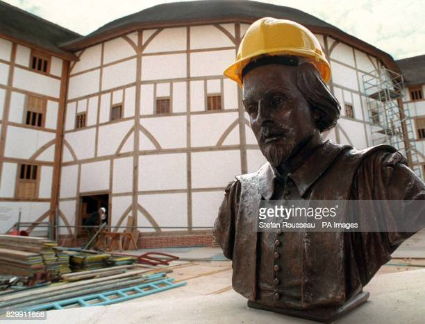 A cheekily placed builder's helmet on the bronze bust of dramatist WIlliam Shakespeare before it was formally unveiled at London's Globe Theatre this...