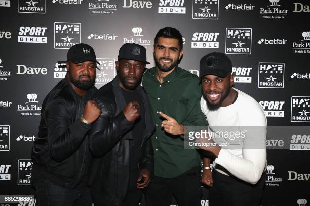 Cheeky Sport Dave and Adam Makola with their friends during the Hayemaker Ringstar Fight Night at O2 Indigo on October 20 2017 in London England