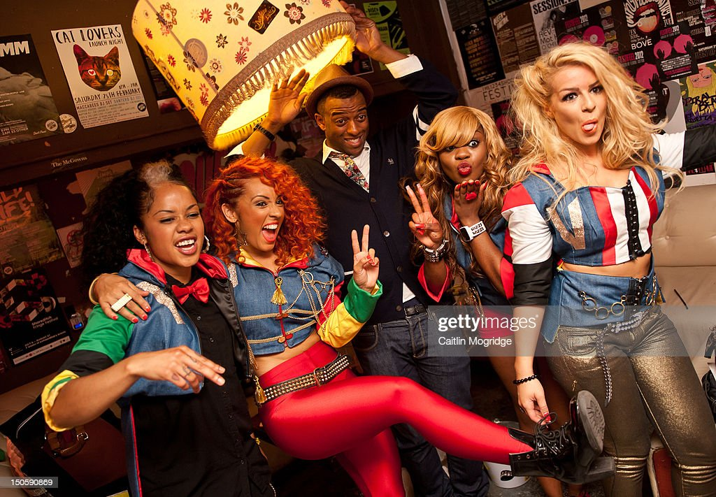Cheekz, AJ, Oritse Williams, V.Vee and Jade pose for a photo backstage at Queen Of Hoxton on August 22, 2012 in London, United Kingdom.