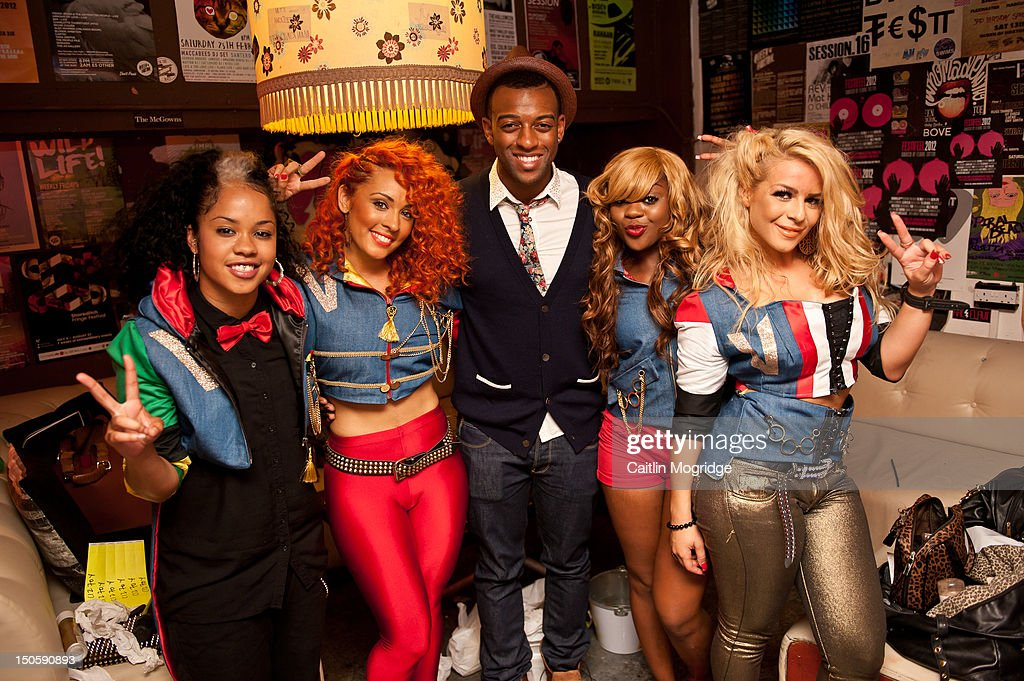 Cheekz, AJ, <a gi-track='captionPersonalityLinkClicked' href=/galleries/search?phrase=Oritse+Williams&family=editorial&specificpeople=5739700 ng-click='$event.stopPropagation()'>Oritse Williams</a>, V.Vee and Jade pose for a photo backstage at Queen Of Hoxton on August 22, 2012 in London, United Kingdom.