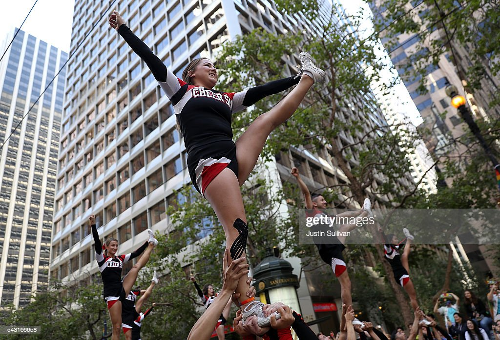 Cheer SF performs during the 2016 San Francisco Pride Parade on June 26, 2016 in San Francisco, California. Hundreds of thousands of people came out to watch the annual San Francisco Pride parade, one of the largest in the world.