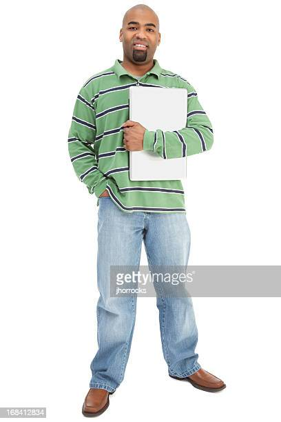 Cheerful African American Man Holding Laptop