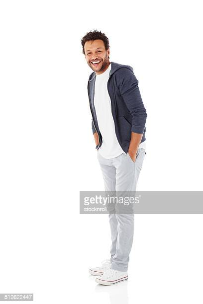 Cheerful african man on white