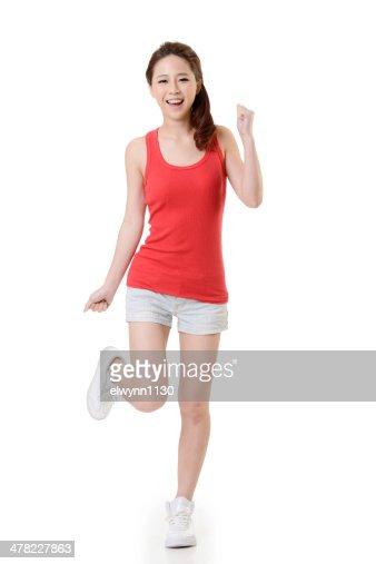 Sport Asiatique joyeuse fille asiatique sport photo   thinkstock