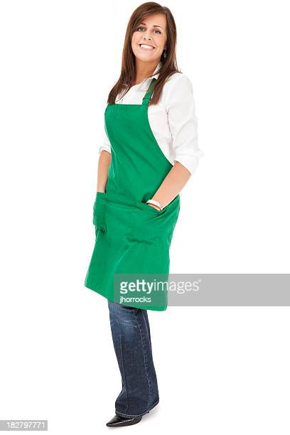 Cheerful Barista in Green Apron