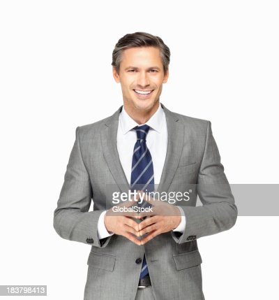 Cheerful business man gesturing against white background
