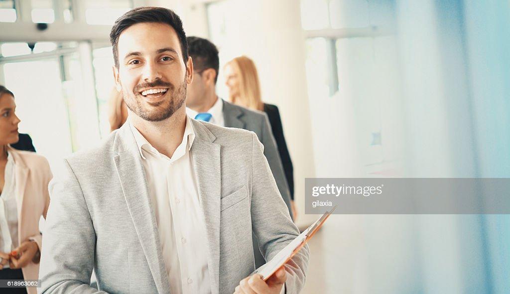 Cheerful businessman. : Stock Photo