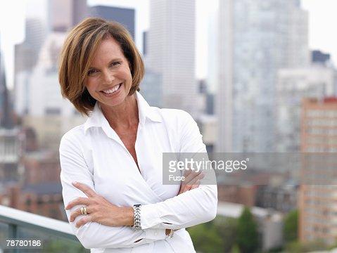 Cheerful Businesswoman Downtown