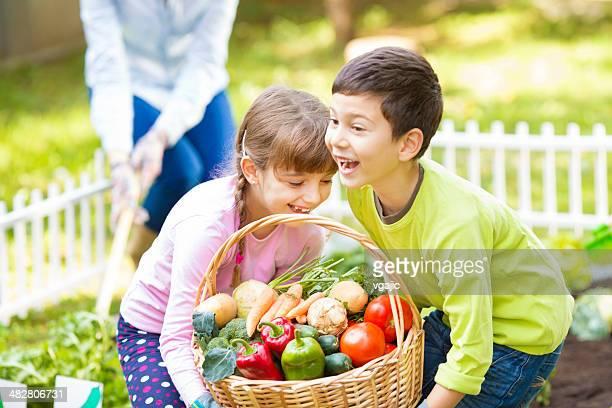 Cheerful Children at vegetable garden.