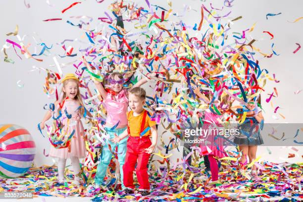 Cheerful Children's Party with Colorful Little Ribbons