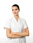 cheerful cosmetologist woman on white background