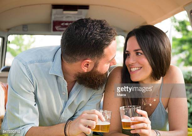 Cheerful couple enjoying  road trip