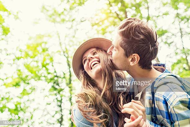 Cheerful Couple Green Nature Summer Love