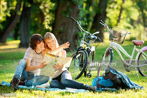 Cheerful Couple Riding Bicycles.