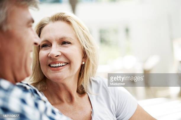 Cheerful couple together, talking and bonding