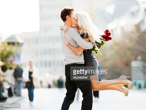 Cheerful embraced couple. : Stock Photo