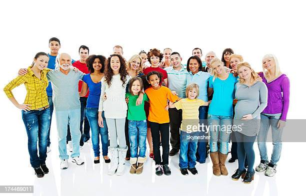 Cheerful embraced mixed age group of people.
