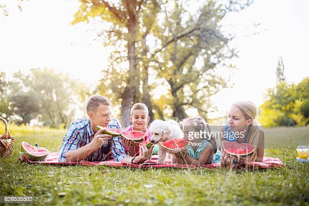 Cheerful extended family with pet dog eating watermelon