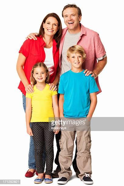Fröhliche Familie In Casuals-isoliert