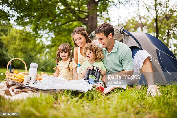 Cheerful family on picnic.