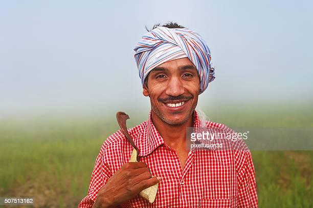 Cheerful Farmer Standing Portrait in the Field
