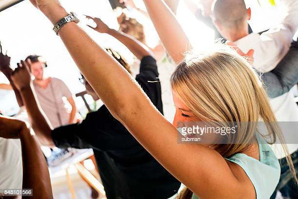 Cheerful Friends Dancing At An Outdoor Party
