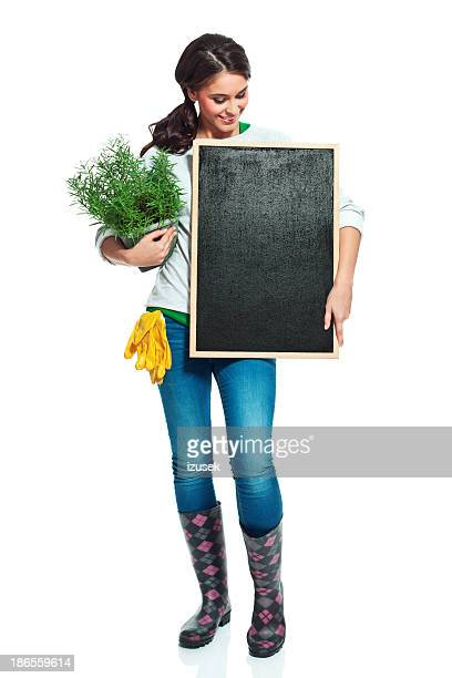 Fröhlich Gärtner mit blackboard