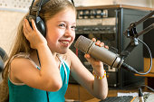Cheerful girl radio DJ