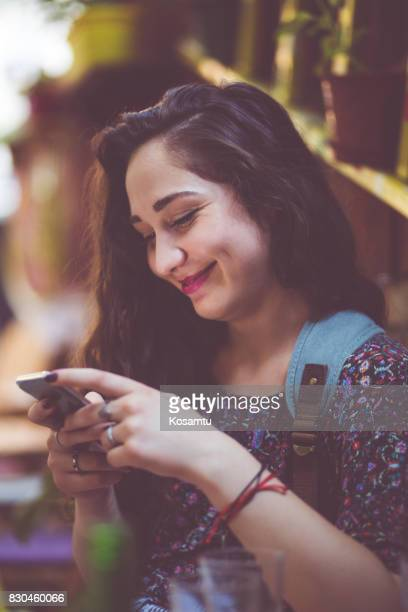 Cheerful Girl Texting Messages