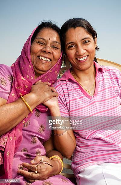 Cheerful Indian Mother and Daughter