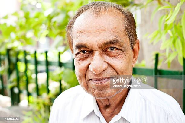 Cheerful Indian Senior Citizen Male Man