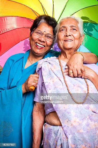 Cheerful Indian Senior Woman and Daughter